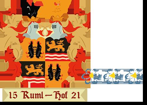 Rumlhof Logo mit Roter Hahn 3 Blumen Bewertung